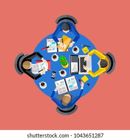 Teamwork concept with space for text. Workspace background,  illustration. Top view of group of four people working at round office desk. Business workplace. Collaboration and partnership