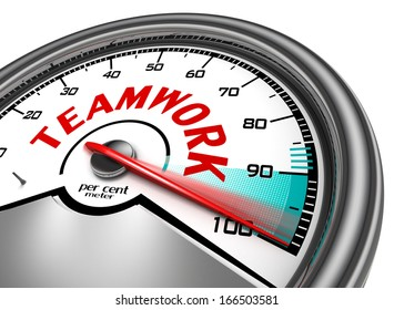 teamwork conceptual meter, isolated on white background