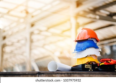Teamwork of the construction team must have quality. Whether it is engineering, construction workers. And have a helmet to wear at work. For safety at work. copy space