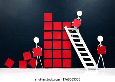 Teamwork, cooperation and rebuilding business economy concept. Human stick figures fixing broken building blocks.