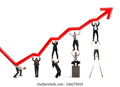 Teamwork and corporate profit with red statistical trend