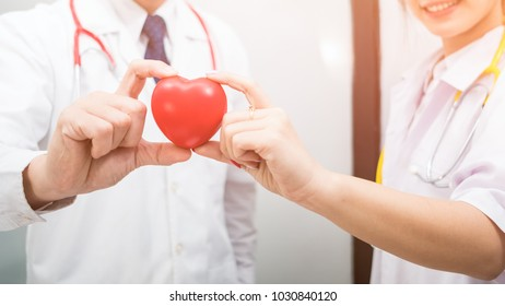 teamwork of doctor hand holding a red heart, blood donate concept