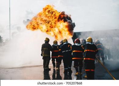 teamwork of Firefighters training,  fireman