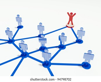 Teamwork and leadership. Group of people connected with blue lines with one red figure ahead as a leader.