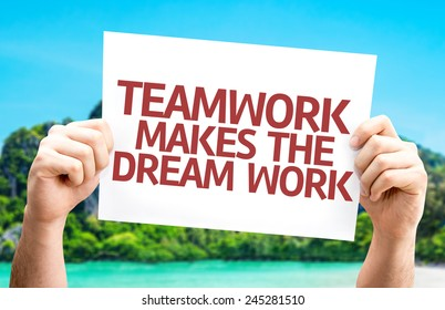 Teamwork Makes the Dream Work card with a beach on background