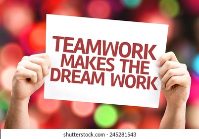 Teamwork Makes the Dream Work card with colorful background with defocused lights