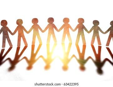 teamwork, paper people