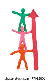 teamwork plasticine figurines isolated on white background
