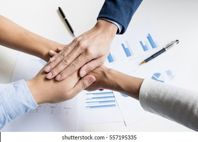 Teamwork Power Successful business Meeting Workplace Concept.