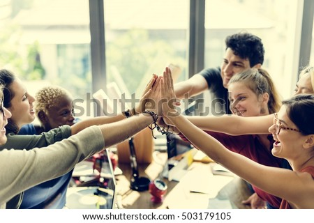 Teamwork Power Successful Meeting Workplace Concept