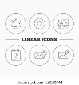 Teamwork, presentation and e-mail icons. E-mail inbox linear sign. Flat cogwheel and calendar symbols. Linear icons in circle buttons.
