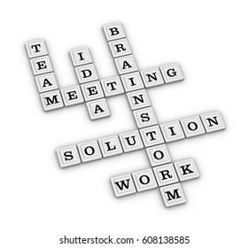 Teamwork for Problem Solving Crossword puzzle. 3D illustration on white background.