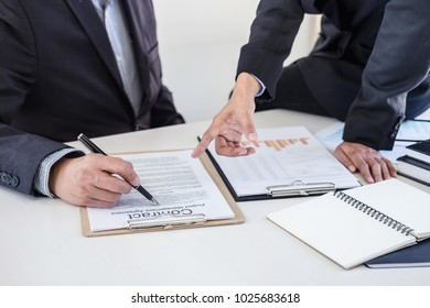 Teamwork process, Business partners meeting and discussing for new project investments and sale performance, financial and business strategy concept.