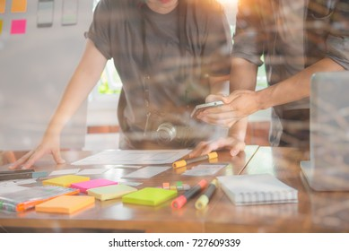 Teamwork and programming websites and mobile applications on the phone, so-called. user experience (UX). Web designer, UX UI designer planning application for mobile phone.