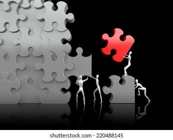Teamwork. Puzzle. High resolution 3d render.