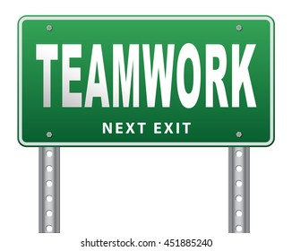 teamwork road sign concept, team work and cooperation in partnership working together business partners 3D illustration, isolated, on white