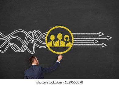 Teamwork Solutions Concepts on Chalkboard Background