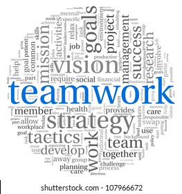 Teamwork and strategy concept in word tag cloud