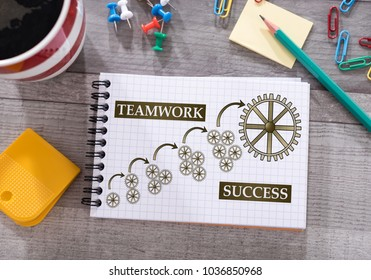 Teamwork success concept drawn on a notepad placed on a desk