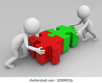 teamwork/Two 3d people in combination puzzles