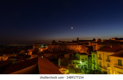 Teano, Caserta, Campania. Town of pre-Roman origins, located on the slopes of the volcanic massif of Roccamonfina.  Night view of the historic center.
