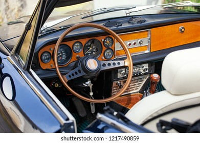 Teano, Italy - July 27, 2012: internal detail of the FIAT Spider 2000 Pininfarina. It was built on the shortened chassis of the sedan and was equipped with a twin-shaft 4-cylinder engine