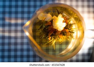 Teapot with flower tea