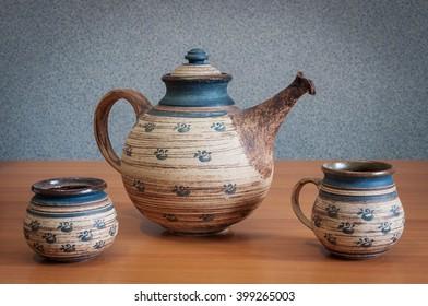 Teapot on wooden table