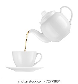 Teapot pouring tea into a cup