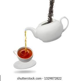 teapot and tea cup isolated on white background