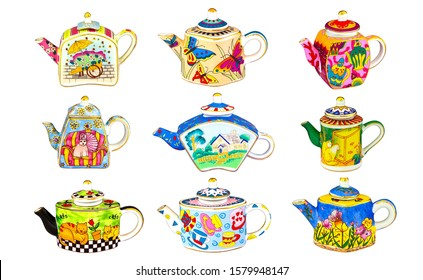 Teapots collection. Brewing teapot set isolated on white background. Colorful brewing teapots in row