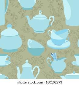 Teapots seamless pattern - raster version
