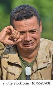 Tearful Male Soldier