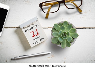 tear-off calendar Father's Day 2020 on top on wooden background