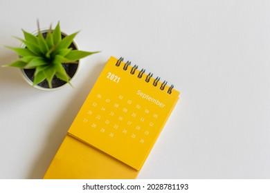 Tear-off calendar for September 2021. A desktop calendar for planning and managing each date