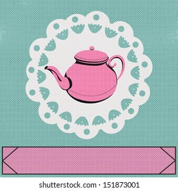 Teatime, background with a vintage style teapot