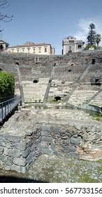 Teatro Romano on Via Vittorio Emanuele in Catania, Sicily, Italy