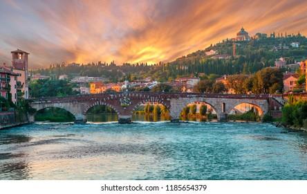 Teatro Romano and Ponte Pietra bridge on Adige river in Verona, Italy