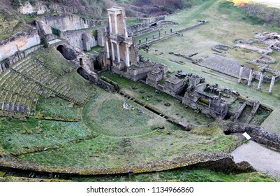 Teatro Romano, the ruins of a Roman theatre in Volterra, Tuscany, Italy