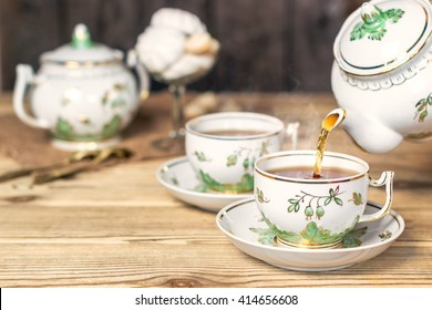 Teaware in retro style. Tea Party. Shallow DOF