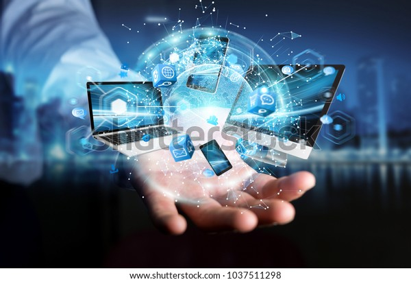 Tech devices connected to each other by businessman on blurred background 3D rendering