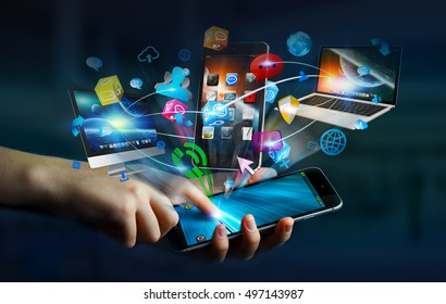 Tech devices and icons applications connected to businesswoman mobile phone 3D rendering
