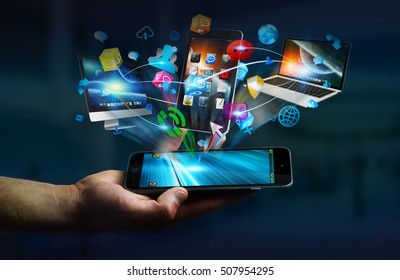 Tech devices and icons applications connected to businessman mobile phone 3D rendering