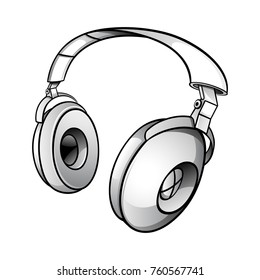 Tech illustration of a glossy modern dj headphones
