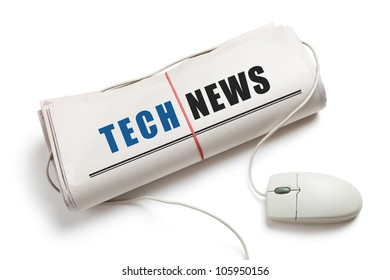 Tech News, Computer mouse and Newspaper Roll with white background