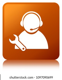 Tech support icon isolated on brown square button reflected abstract illustration