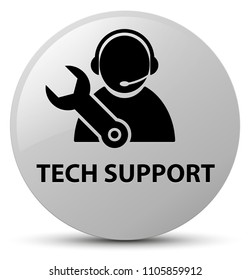 Tech support isolated on white round button abstract illustration