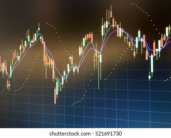 Technical analysis Candlesticks graph on black screen with flare light