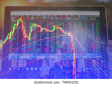 Technical candle stick chart with moving average indicator, showing price falling and market volatility, stack of coin and city construction, background for business investment concept.