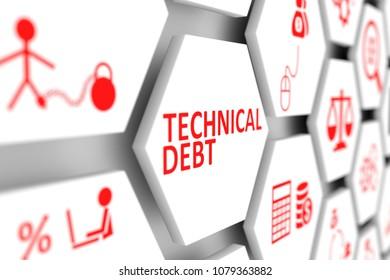 Technical debt concept cell blurred background 3d illustration